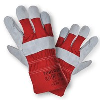 Polyco Premium Chrome Leather Rigger Gloves size L (Red) by Workshop Plus